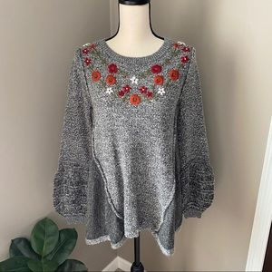 Knox Rose Floral Embroidered Pullover Sweater Sm.